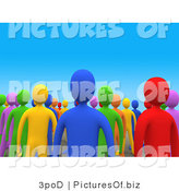 Clipart of a 3d Crowd of Colorful People by 3poD