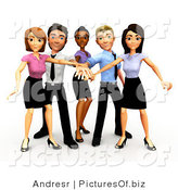 Clipart of a 3d Diverse Business Group Stacking Hands by