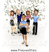 Clipart of a 3d Diverse Business Team and Raining Money by
