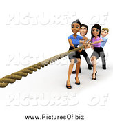 Clipart of a 3d Diverse Business Team Engaged in Tug of War by