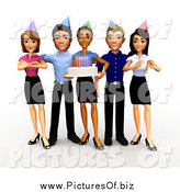 Clipart of a 3d Diverse Business Team Holding a Birthday Office Party by