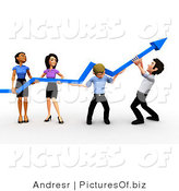 Clipart of a 3d Diverse Business Team Holding an Arrow up by