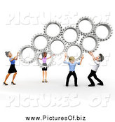 Clipart of a 3d Diverse Business Team Holding up Silver Gears by