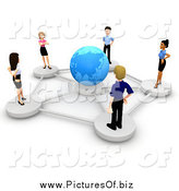 Clipart of a 3d Diverse Business Team Networked Around a Blue Globe by