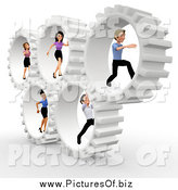 Clipart of a 3d Diverse Business Team Running Inside Gears by