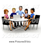 Clipart of a 3d Diverse Business Team Seated Around a Laptop by