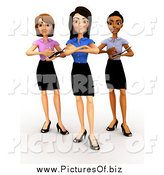 Clipart of a 3d Diverse Female Business Team Posing by