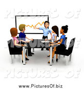 Clipart of a 3d Diverse Young Business Team Discussing a Chart by
