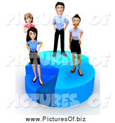 Clipart of a 3d Diverse Young Business Team Standing on a Pie Chart by Andresr