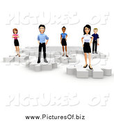Clipart of a 3d Diverse Young Business Team Standing on Puzzle Pieces by