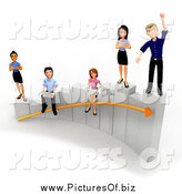 Clipart of a 3d Diverse Young Business Team Working on a Bar Graph by