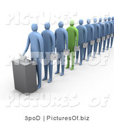 Clipart of a 3d Green Person in a Line of Blue Voters by 3poD