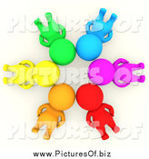 Clipart of a 3d Group of Colorful People Laying in a Circle with Their Heads Together by