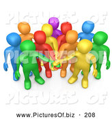Clipart of a 3d Group of Diverse Colorful People Putting Their Hands in a Pile, Making a Pact by 3poD