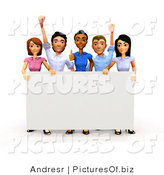 Clipart of a 3d Happy Diverse Business Team Holding a Sign by
