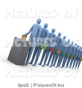 Clipart of a 3d Line of Voters by 3poD
