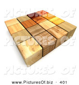 Clipart of a 3d Mixed Wooded Blocks on White by Frank Boston