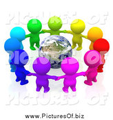 Clipart of a 3d Team of Colorful People Holding Hands in a Circle Around Earth by