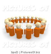 Clipart of a 3d Unity Circle of Orange People by 3poD