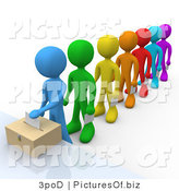 Clipart of a 3d Voters in Line by 3poD