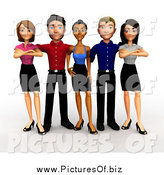Clipart of a 3d Young Diverse Business Team Posing by