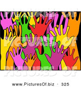 January 5th, 2013: Clipart of a Anxious, Diverse and Colorful Raised Hands on a Black Background by Prawny