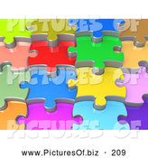 Clipart of a Background of 3d Colorful Shiny Layers of Interlocking Jigsaw Puzzle Pieces by 3poD