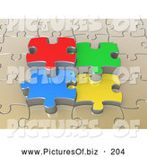Clipart of a Beige Puzzle with Four Colorful Pieces in the Middle by 3poD