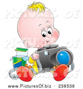 Clipart of a Blond White Baby Sitting and Taking Pictures with a Camera by Alex Bannykh
