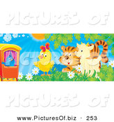 Clipart of a Blue Bird on a Train, Watching a Chick, Tiger and Goat Play in a Field of Flowers on a Bright and Sunny Spring Day by Alex Bannykh