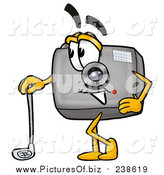 October 25th, 2015: Clipart of a Camera Mascot Leaning on a Golf Club While Golfing by Toons4Biz
