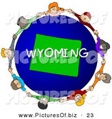 Clipart of a Children Holding Hands in a Circle Around a Blue and Green Wyoming Globe by Djart