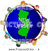 Clipart of a Children Holding Hands in a Circle Around a Blue New Jersey Globe by Djart