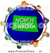 Clipart of a Children Holding Hands in a Circle Around a Blue North Dakota Globe by Djart