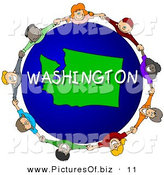Clipart of a Children Holding Hands in a Circle Around a Blue Washington Globe by Djart