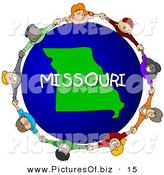 Clipart of a Children Holding Hands in a Circle Around a Globe Focused on Missouri by Djart