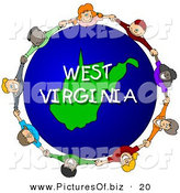 Clipart of a Children Holding Hands in a Circle Around a Globe Highlighting West Virginia by Djart