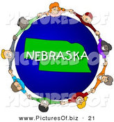 Clipart of a Children Holding Hands in a Circle Around a Green and Blue Nebraska Globe by Djart