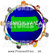 Clipart of a Children Holding Hands in a Circle Around a Green and Blue Pennsylvania Globe by Djart