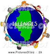 Clipart of a Children Holding Hands in a Circle Around a Green Illinois Globe by Djart