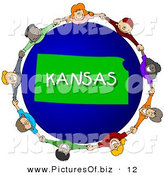 Clipart of a Children Holding Hands in a Circle Around a Green Kansas Globe by Djart
