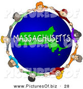 Clipart of a Children Holding Hands in a Circle Around a Green Massachusetts Globe by Djart