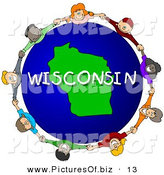 Clipart of a Children Holding Hands in a Circle Around a Green Wisconsin Globe by Djart