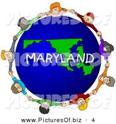 Clipart of a Children Holding Hands in a Circle Around a Maryland Earth Globe by Djart