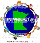 Clipart of a Children Holding Hands in a Circle Around a Minnesota Earth Globe by Djart