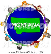 Clipart of a Children Holding Hands in a Circle Around a Montana World Globe by Djart