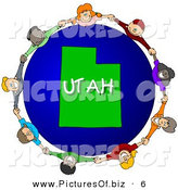 Clipart of a Children Holding Hands in a Circle Around a Utah Earth Globe by Djart