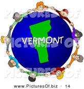 Clipart of a Children Holding Hands in a Circle Around a Vermont Earth Globe by Djart