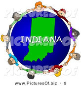 Clipart of a Children Holding Hands in a Circle Around an Indiana Globe on White by Djart