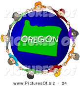 Clipart of a Children Holding Hands in a Circle Around an Oregon Blue and Green Globe by Djart